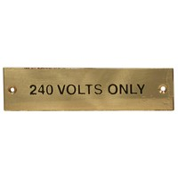 240v Only Brass Label